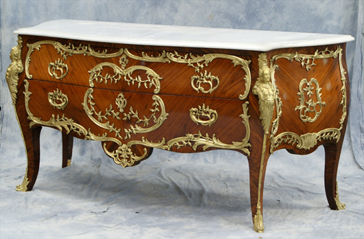 Monumental Louis XV-style kingwood bombe commode, 19th century. William H. Bunch Auctions image.