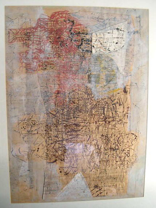 Stuart Sutcliffe original collage, Hamburg period, circa 1960-62, oil and ink on paper, 23 x 32 inches (sight). Est. $50,000-$90,000. Guernsey's image.
