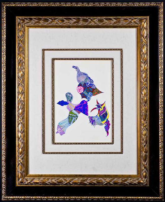 Framed original artwork by Jimi Hendrix titled 'Three Psychedelic Floating Figures. Colored marker pens on paper, image 11.5 x 8.75 inches. Est. $40,000-$60,000. Guernsey's image.