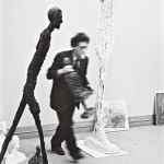 Henri Cartier-Bresson gelatin silver print of Alberto Giacometti and his sculptures, 1961. Image courtesy of LiveAuctioneers Archive and Phillips de Pury & Co.
