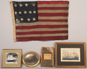 Included in the LaGrone flag collection is the boat flag and archive from 'The Red, White and Blue,' which made headlines in 1866 when it became the smallest ship to ever cross the Atlantic. Est. $10,000-$15,000. Image courtesy Case Antiques Auction.