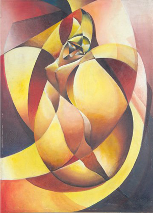 Arnold Belkin painted this untitled (reclining nude) oil on canvas. Image courtesy of LiveAuctioneers Archive and Rago Arts and Aucton Center.