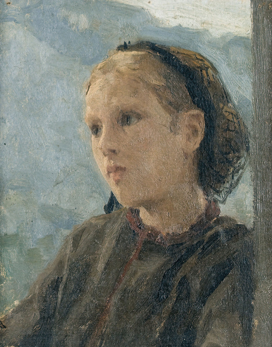 Albert Anker's small, loosely rendered oil portrait of a girl, 1882, estimated at 70,000 Swiss francs sold for 220,000 Swiss francs ($251,000) at Dobiaschofsky Auktionen AG. Photo courtesy Dobiaschofsky Auktionen.