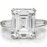 A platinum and octagonal step-cut diamond ring sold for $268,000. Image courtesy of Leslie Hindman Auctioneers.