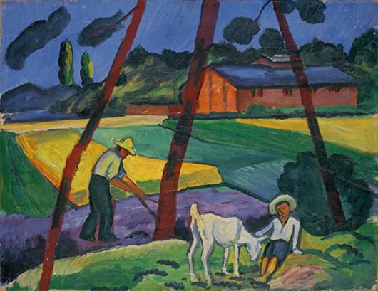 'Landschaft mit Bauer, Junge und Ziege' (Landscape with Farmer, Boy and Goat), 1914, by August Macke, one of the featured works in Villa Grisebach's 25 year anniversary sale Nov. 24-26. Photo courtesy Villa Grisebach Auktionen GmbH.