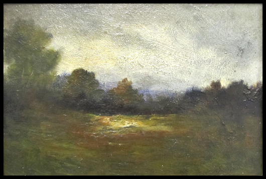 George Inness Sr. (American 1825-1894) oil on artist board, pastoral landscape, signed 6 1/4 x 9 inches. Estimate: $7,000-$10,000. Image courtesy of William Jenack Estate Appraisers and Auctioneers.