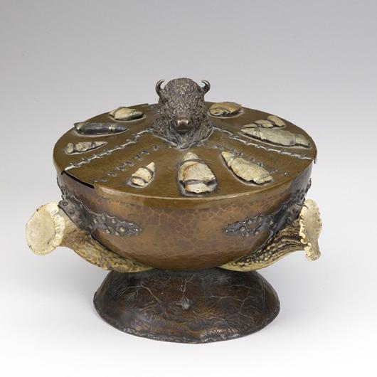 Joseph Heinrichs for Shreve & Co. multi-metal bowl with stone arrowheads. Estimate: $10,000-$15,000. Image courtesy of Rago Arts and Auction Center.