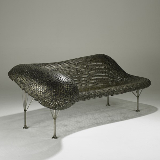 Johnny Swing Nickel Couch, 2003, 31 x 90 x 44 inches. Estimate: $45,000-$65,000; Image courtesy of Rago Arts and Auction Center.
