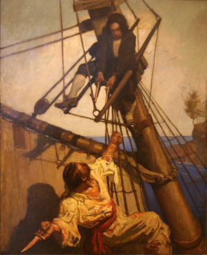 'One more step, Mr. Hands, and I'll blow your brains out!' Illustration by N.C. Wyeth for the 1911 edition of Robert Louis Stevenson's 'Treasure Island.' Image from the New Britain Museum of American Art, courtesy of Wikimedia Commons.