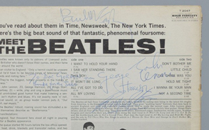 A close-up view of the back of the 'Meet The Beatles!' album shows the signatures of the Fab Four. Image courtesy of Case Antiques Inc.