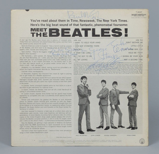 The term 'Beatlemania' was already coined on the liner notes of the 'Meet The Beatles!' album. Image courtesy of Case Antiques Inc.