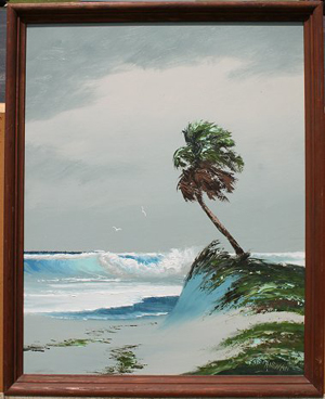 Florida scenes were once sold by the artists along highways. One of these artists was Harold Newton (American 1932-1994), who painted this oil-on-board beach scene. Image courtesy of LiveAuctioneers Archive and Burchard Galleries Inc.
