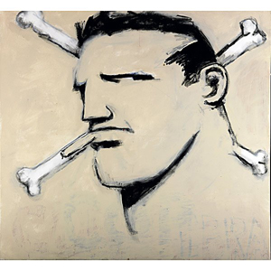 Robert Loughlin's 'The Best Painting I Have Ever Done' depicts 'The Brute,' his signature character. The 2009 acrylic on canvas is 48 x 48 inches. Image courtesy of LiveAuctioneers.com and Rago Arts and Auction Center.