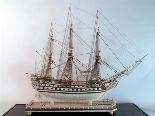 Prisoner of war bone model from the Napoleonic era. Image courtesy of Boston Harbor Auctions.