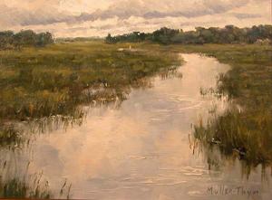 Kim Muller-Thym, Cloudy Creek, oil, framed size 9 x 12 in., estimate $1,050-$1,350. Image courtesy of Salmagundi Club.