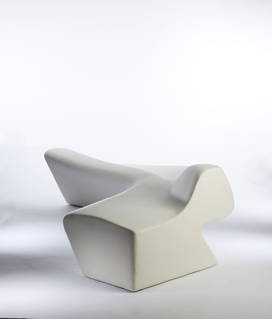 An example of Hadid's  Moraine Sofa (2000) made by Sawaya & Moroni Milan brought $13,800 in December 2008. Courtesy Wright.