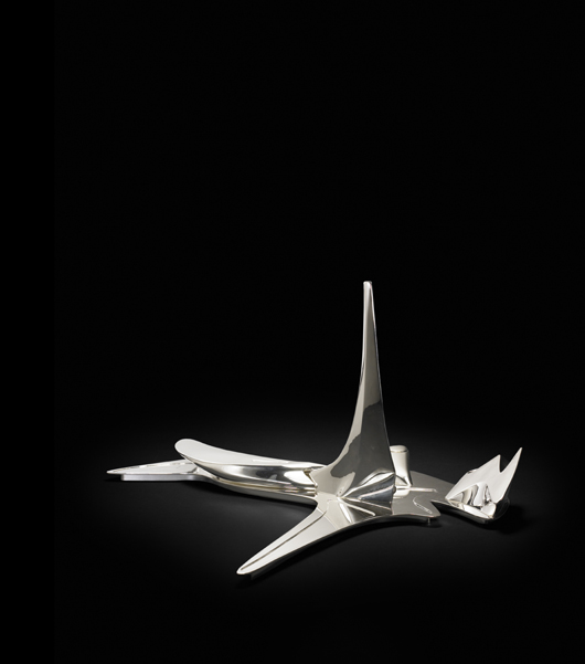 """Richard Wright says, """"Hadid's works in silver are my favorites from her oeuvre."""" The designer's TCTHADID sterling tea & coffee set (2003), made in limited edition by Alessi, sold for $21,250 in 2009 at the Chicago auction house. Courtesy Wright."""