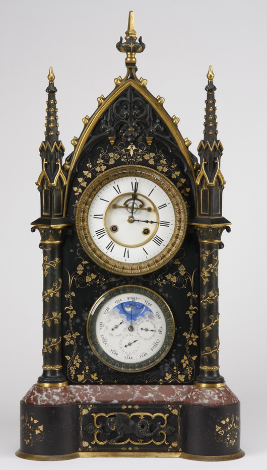 19th century English marble clock with perpetual movements. Image courtesy of Great Gatsby's.