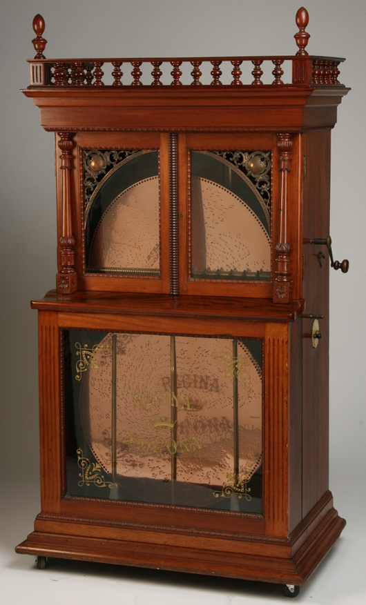 Nineteenth century American Regina Corona 27-inch disc music box with automatic changer. Image courtesy of Great Gatsby's.