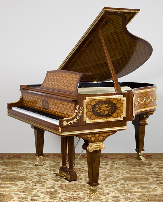 Magnificent marquetry inlaid art case Steinway & Sons baby grand piano. Image courtesy of Great Gatsby's.