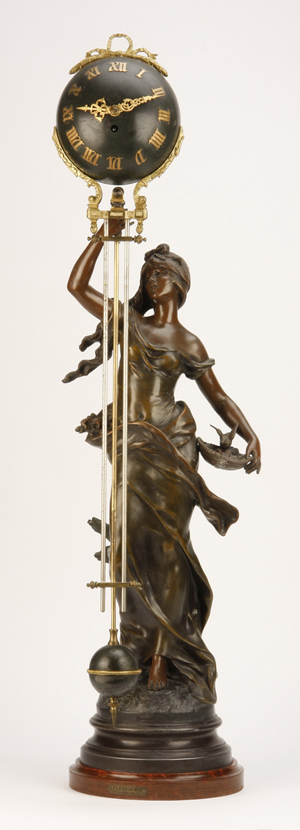 Rare 19th century French figural swinger clock, maker marked Auguste Moreau. Image courtesy of Great Gatsby's.