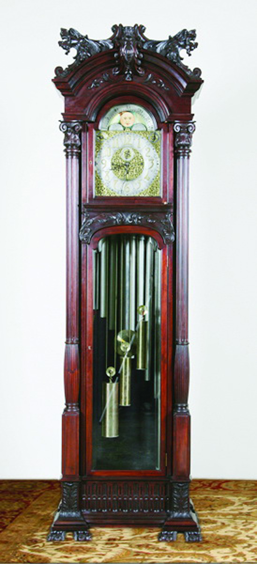 Rare 19th century American carved mahogany tall case clock with Herschedes nine-tube movement. Image courtesy of Great Gatsby's.