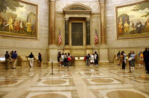 Rotunda for the charters of Freedom at National Archives (NARA) building in Washington, D.C., where the Declaration of Independence, the Bill of Rights, and the U.S. Constitution are on display. Photo by Kelvin Kay, licensed under the Creative Commons Attribution ShareAlike 3.0 License.