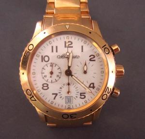 18K Breguet Transatlantique chronograph, $11,700. Image courtesy of Leighton Galleries.