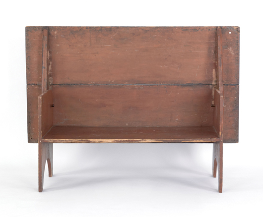Pennsylvania painted pine hutch table, circa 1800, original red paint, 29 inches high x 66 inches long x 36 1/2 inches wide. Sold for $4,503. Image courtesy of Pook & Pook Inc.