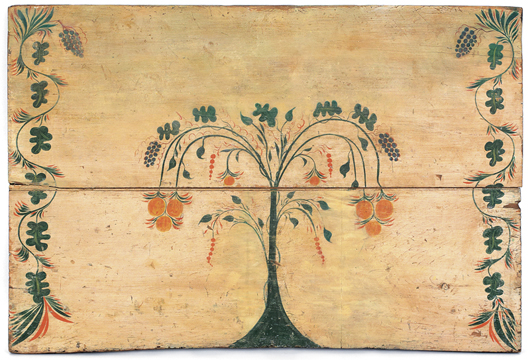 Rare Connecticut painted pine fireboard, attributed to Stimp, circa 1800, 29 1/2 inches high x 43 3/4 inches  wide. Sold for $9,480. Image courtesy of Pook & Pook Inc.