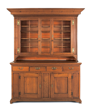 Lancaster, Pa., walnut wall cupboard, circa 1770, 87 1/2 inches high x 60 1/2 inches wide x 21 1/2 inches deep. Sold for $37,920. Image courtesy of Pook & Pook Inc.