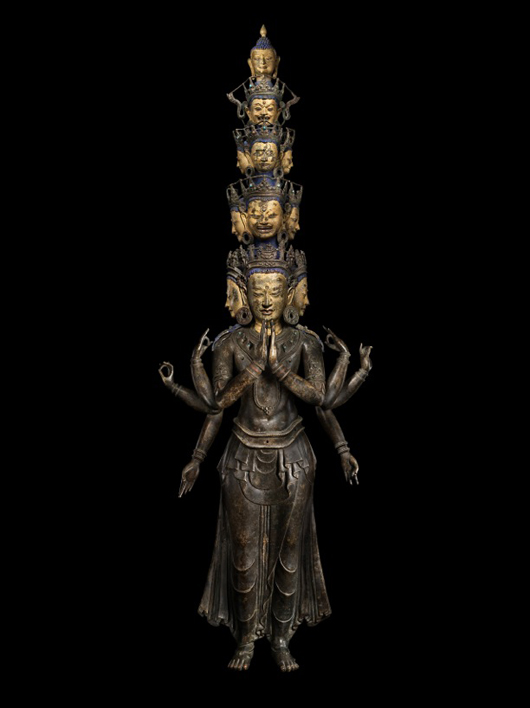 An Avalokitesvara Buddhist figure inset with precious stones and dating from around 1400, to be shown at London dealers Rossi and Rossi's 'Asian Art London' exhibition at their gallery at 16 Clifford St. from Nov. 3-12. Image courtesy of Ross and Rossi.