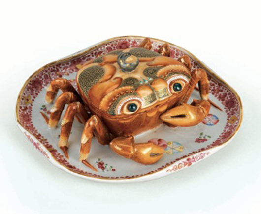 This superb Chinese Qing dynasty, Qianlong period export porcelain crab tureen, decorated in Famille Rose enamels and gold, circa 1770, from the collection of Brazilian entrepreneur Renato de Albuquerque, is illustrated in a new book on the Albuquerque collection to be published by London dealer Jorge Welsh and launched during the annual Asian Art in London event from Nov. 3-12. Image courtesy of Jorge Welsh.