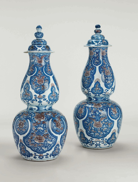 Two Qing Dynasty Kangxi period porcelain vases decorated in underglaze blue and copper red, Jingdezhen kilns, Jiangxi province. On display at the Kensington Church Street Gallery of Jorge Welsh during the annual Asian Art in London event Nov. 3-12. Image courtesy of Jorge Welsh.
