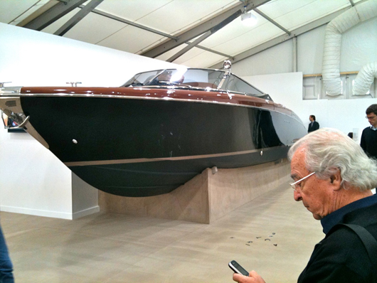 This Riva power boat, a collaboration between Italian luxury yacht manufacturers CRN and German artist Christian Jankowksi, is priced at €500,000 ($688,000) at the Frieze Fair. For an extra €120,000 ($165,000) Jankowski will give you a certificate that transforms it into a 'Readymade' work of art. Image courtesy of Auction Central News.