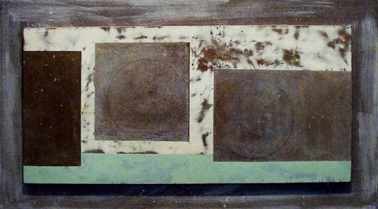 London dealer Bernard Jacobson is showing this work by Ben Nicholson (1894-1982) — 'Dec 61 (Greek and Two Circles)' of 1961 — at PAD London. Oil and pencil on carved and incised gessoed board. Image courtesy of Bernard Jacobson Gallery.