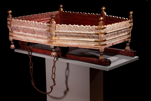 This 18th-century howdah decorated in openwork ivory over mica, Murchidabad 1760-80 is included in Francesca Galloway's exhibition 'Indian Goods for the Luxury Market' from Nov. 3-Dec. 9. Image of courtesy Francesca Galloway.
