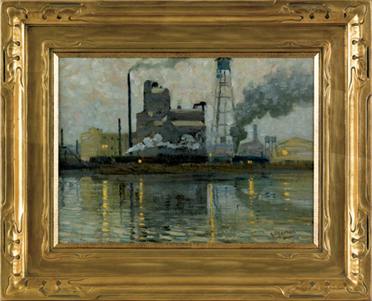 Aaron Harry Gorson (American, 1872-1933)], oil on board industrial scene, signed lower right, retaining a period Newcomb Macklin frame, 11 1/2 x 15 3/4 inches. Realized price: $14,220. Image courtesy of Pook & Pook Inc.