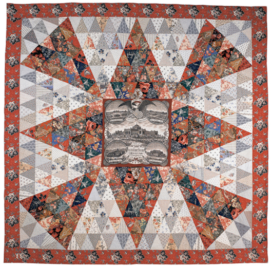 Lancaster County, Pa., Centennial Memorial Hall Medallion quilt, ca. 1876, having a central panel with Fairmont Park, Philadelphia, with four building vignettes, made as a mate to a previous lot, 92 inches square. Realized price $9,480. Image courtesy of Pook & Pook Inc.