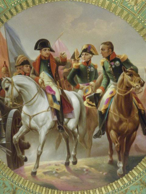 'Napoleon I in the battle of Friedland' is the title of this KPM enameled porcelain plaque. The 16-inch plaque is in its original gild frame. Estimate: $2,200-$2,800. Image courtesy of Auctions Neapolitan.