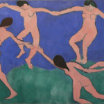 Henri Matisse painted 'The Dance (I) in 1909. The oil on canvas measures 8 feet 6 1/2 inches x 12 feet 9 1/2 inches. Image courtesy of Wikimedia Commons.