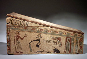 Egyptian wood sarcophagus, Late Period to Ptolemaic Period, 664-30 B.C., made specifically for a mummified ibis bird. Rarely seen on the market. Estimate $18,000-$22,000.