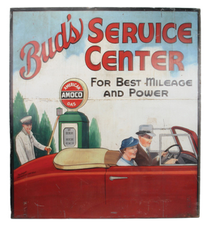 1940s-vintage painted tin sign advertising Bud's Service Center, artist signed, classic depiction of mid-century Americana, 61 inches tall by 56 inches wide, est. $8,000-$12,000. Noel Barrett Auctions image.