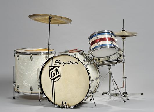 Gene Krupa (1909-1973) Slingerland drum set, $10,000-15,000. Image courtesy of Skinner Inc.