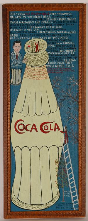 Howard Finster, tractor enamel on board, titled 'Coca-Cola, #1113.' Image courtesy of Slotin Folk Art.