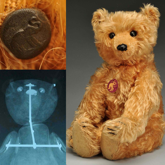 Steiff 'rod' bear, circa 1904, 20 in., accompanied by X-ray confirming interior rod construction. Est. $25,000-$50,000. Morphy Auctions image.