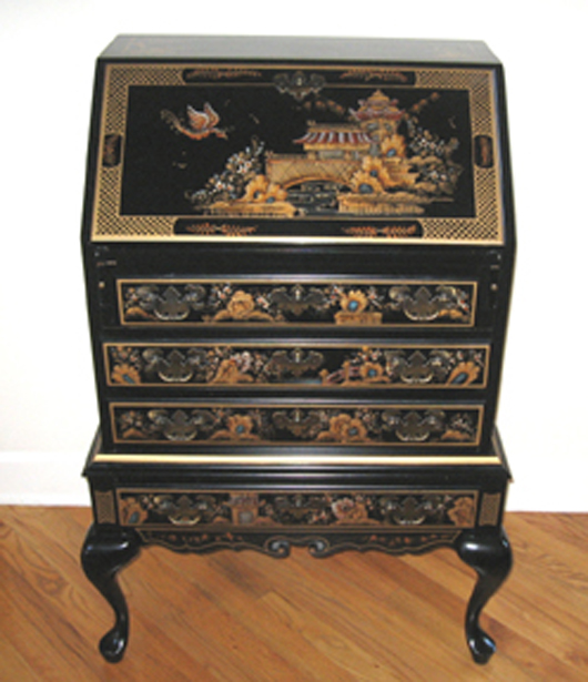A Nice Scale Queen Anne Desk On Frame Decorated In Chinoiserie Style By  Maddox. Fred