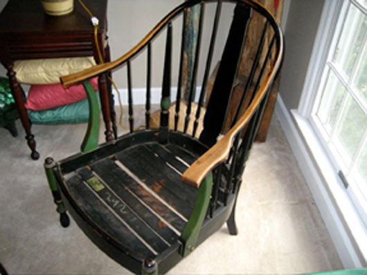 Creative Old 19th C Antique Victorian Pierced Plywood Child Rocking Chair American Made Yet Not Vulgar Antiques