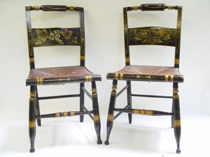 A Pair Of Hitchcock Chairs With Stenciled Decoration. Image Courtesy Of  LiveAuctioneers Archive And Estates