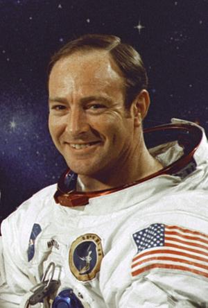 NASA photograph of Edgar Mitchell, Apollo 14 lunar module pilot. Image courtesy of Wikimedia Commons.